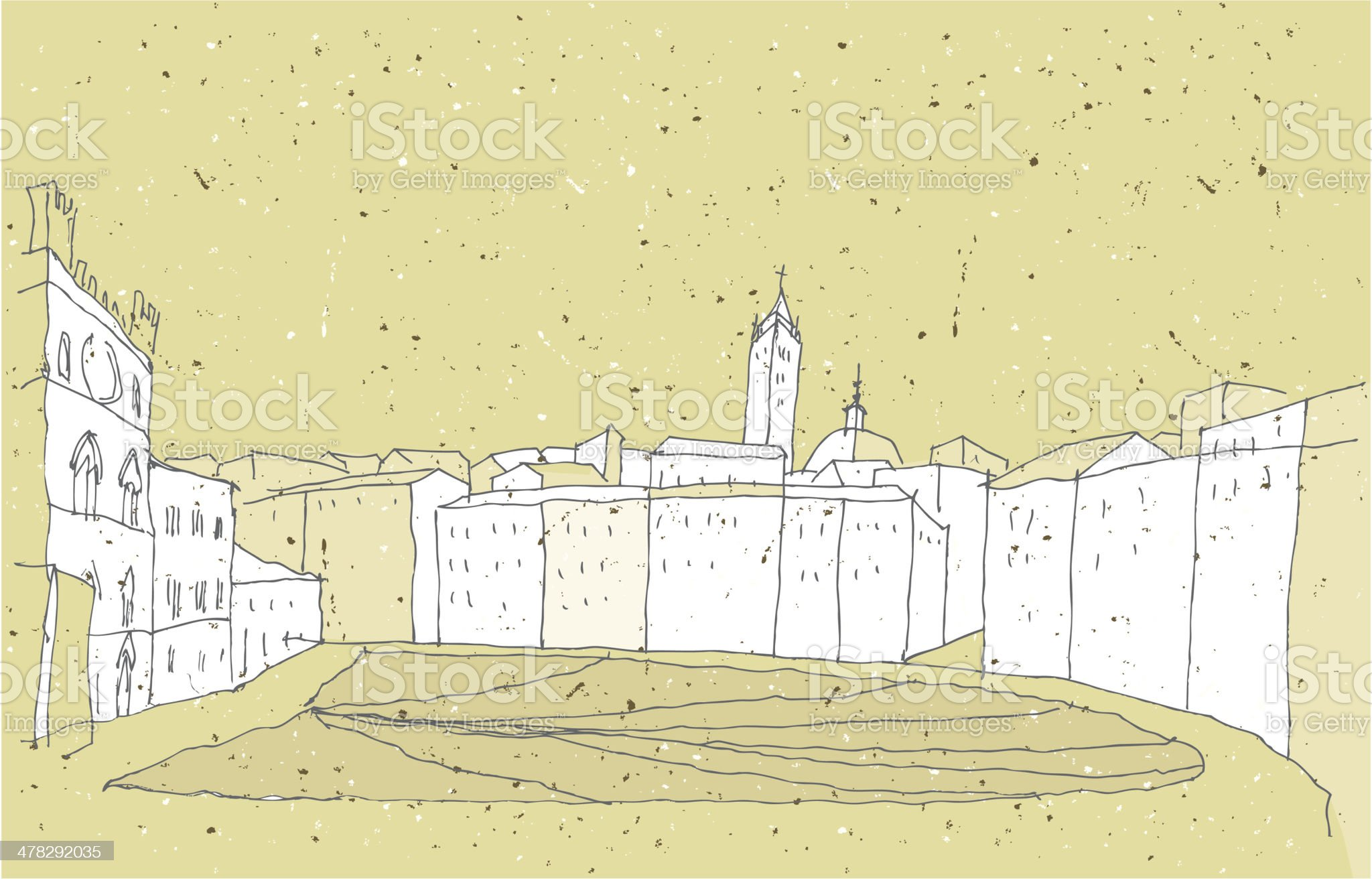 Sketching Historical Architecture in Italy: Sienna royalty-free stock vector art