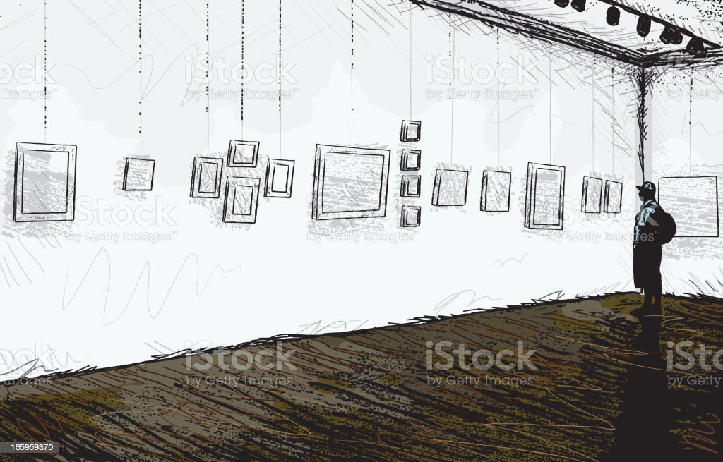 Sketchy abstract art gallery or museum vector art illustration