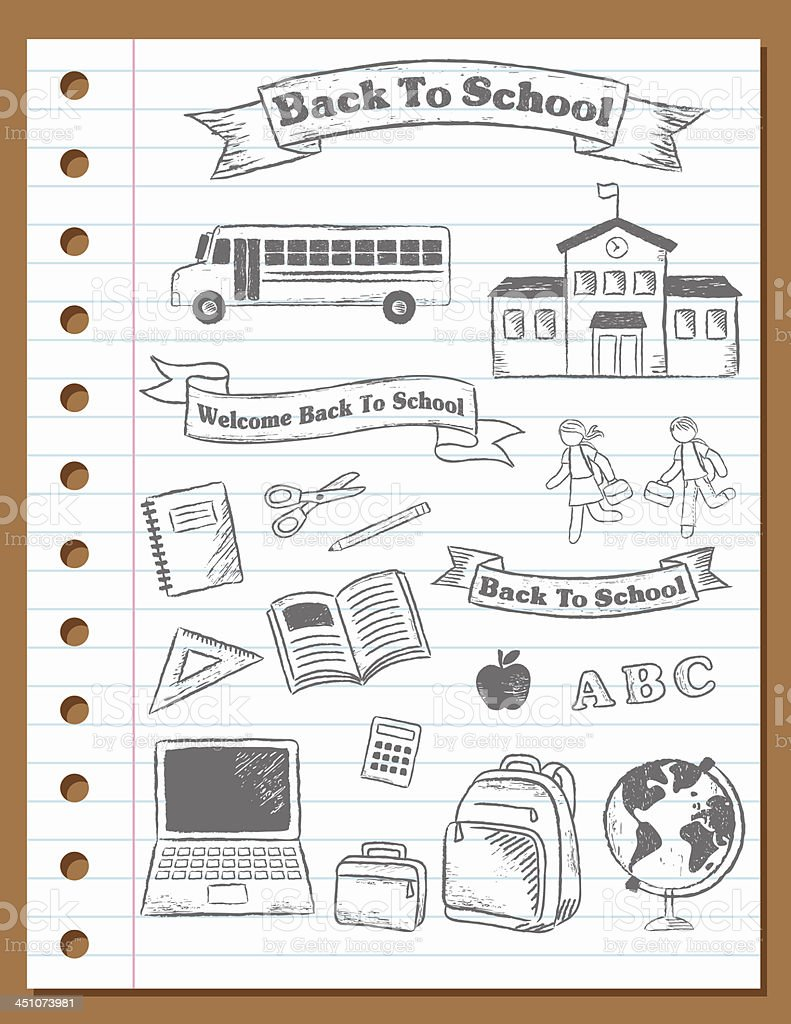 Sketchy Back To School Banners and Elements vector art illustration