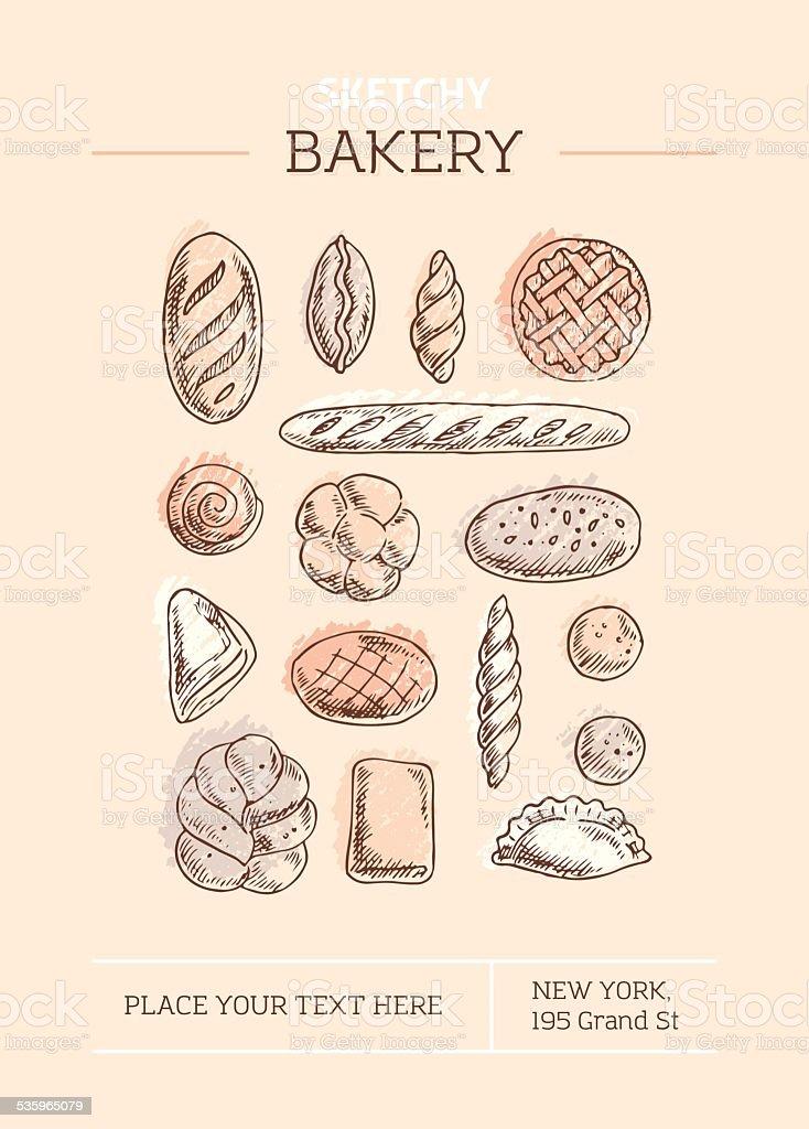 Sketchy Bakery Template vector art illustration