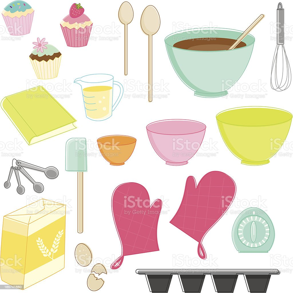 Sketchy Baking Essentials royalty-free stock vector art