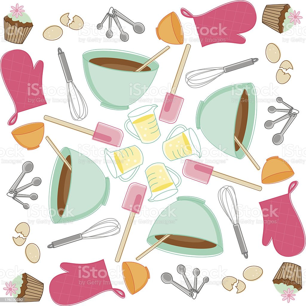 Sketchy Baking Pattern vector art illustration