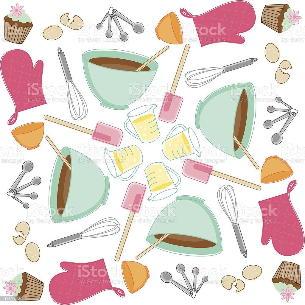 Sketchy Baking Pattern vector art illustration