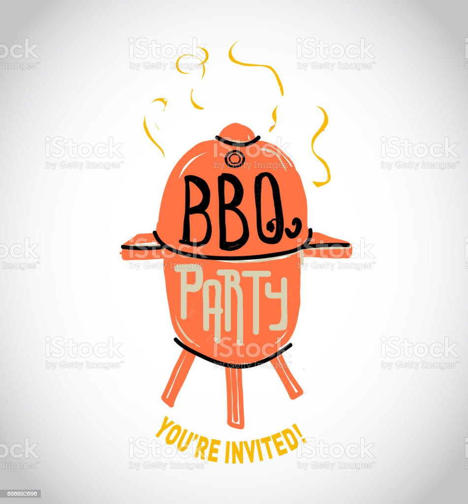 Sketchy bbq grill with handwriting text vector art illustration