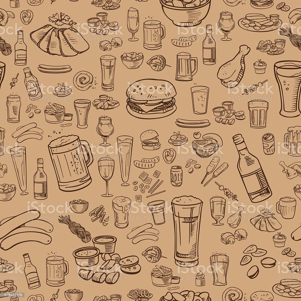 sketchy beer and snacks, seamless background vector art illustration
