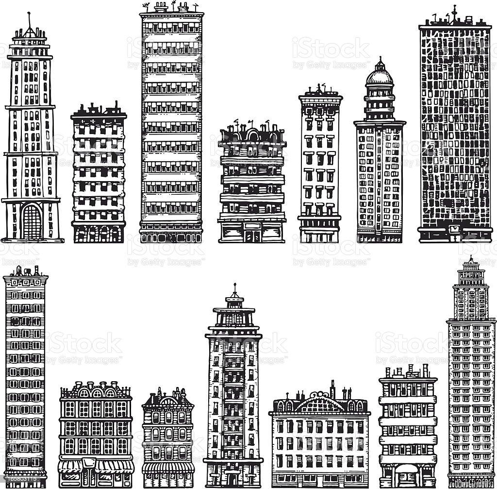 Sketchy Buildings royalty-free stock vector art