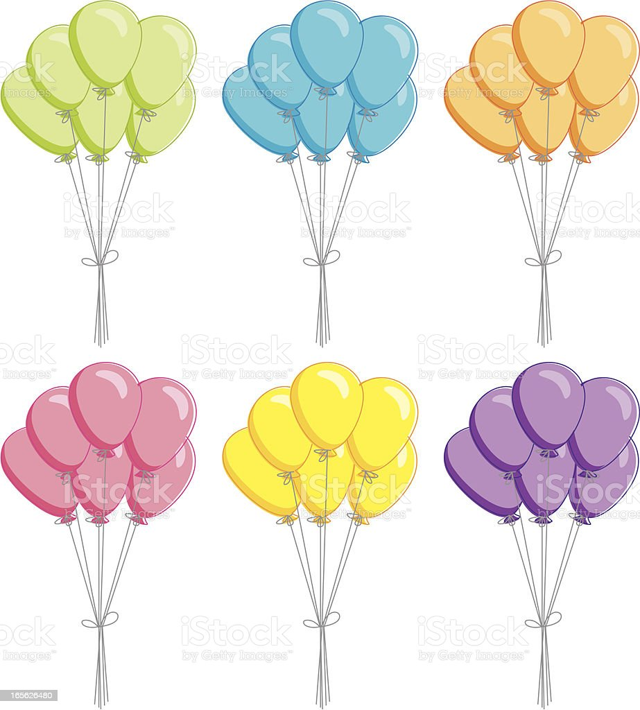 Sketchy Bunches of Balloons vector art illustration