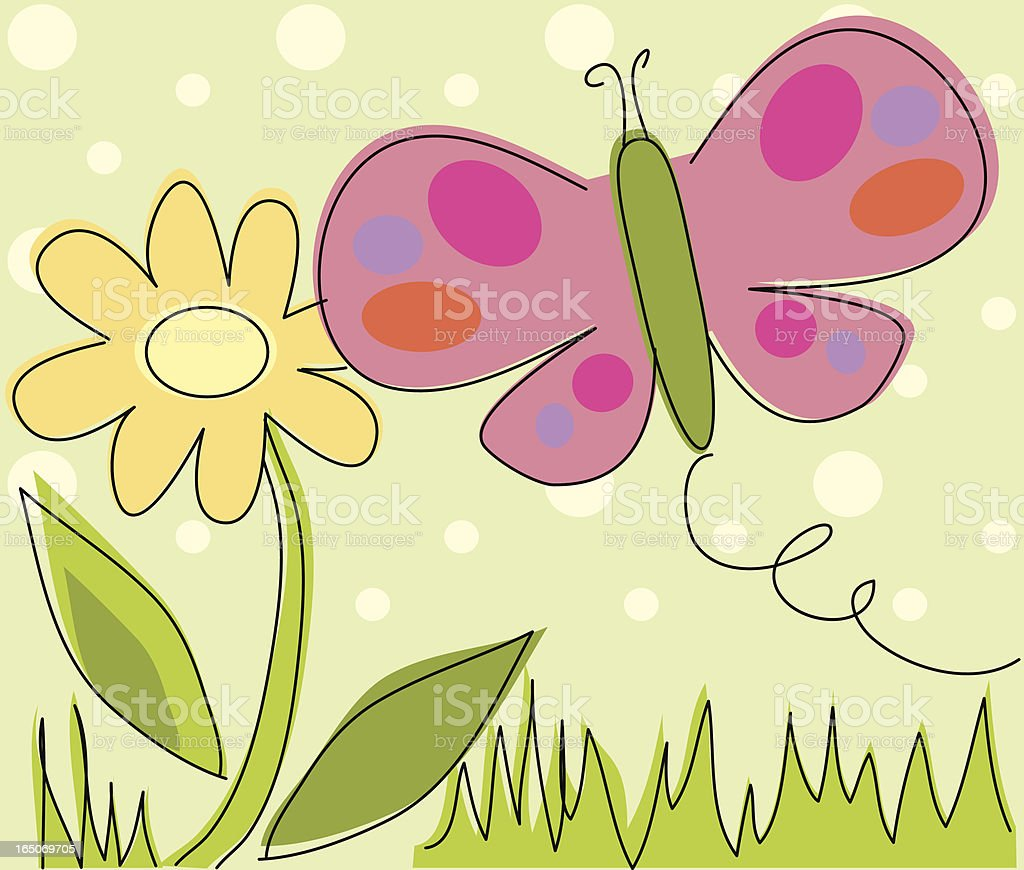 Sketchy Butterfly and Flower vector art illustration