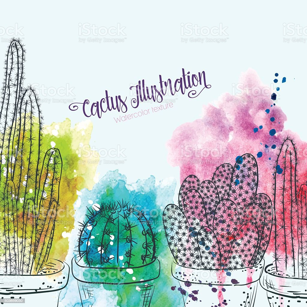 Sketchy Cactus With Splashy Watercolors. vector art illustration