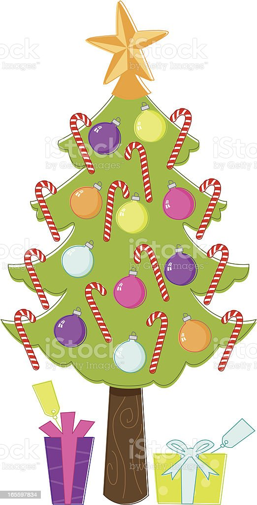 Sketchy Candy Cane Christmas Tree vector art illustration