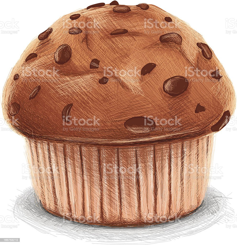 sketchy chocolate muffin royalty-free stock vector art