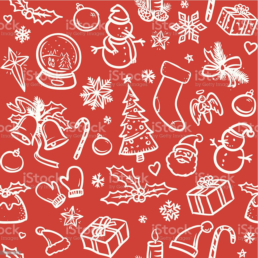 Sketchy Christmas icons background royalty-free stock vector art