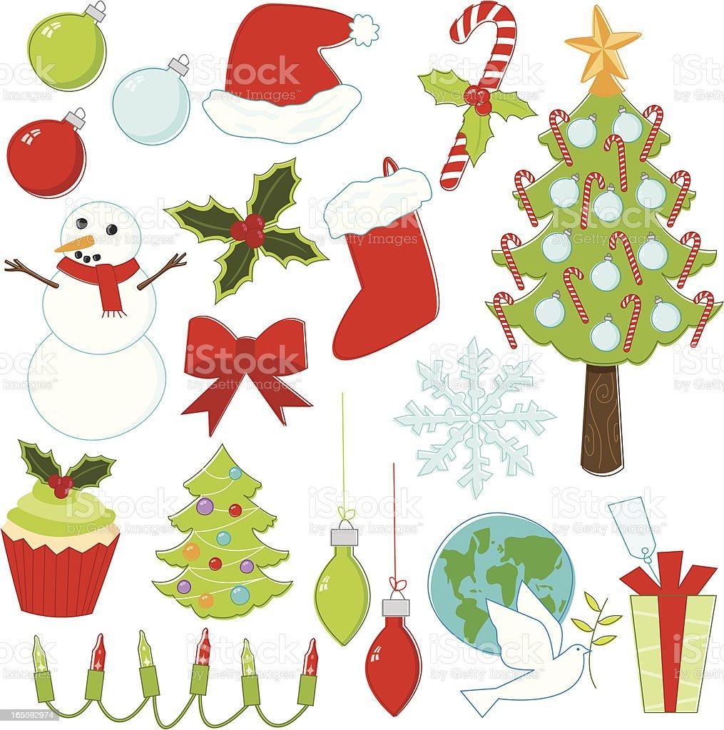 Sketchy Christmas Set vector art illustration