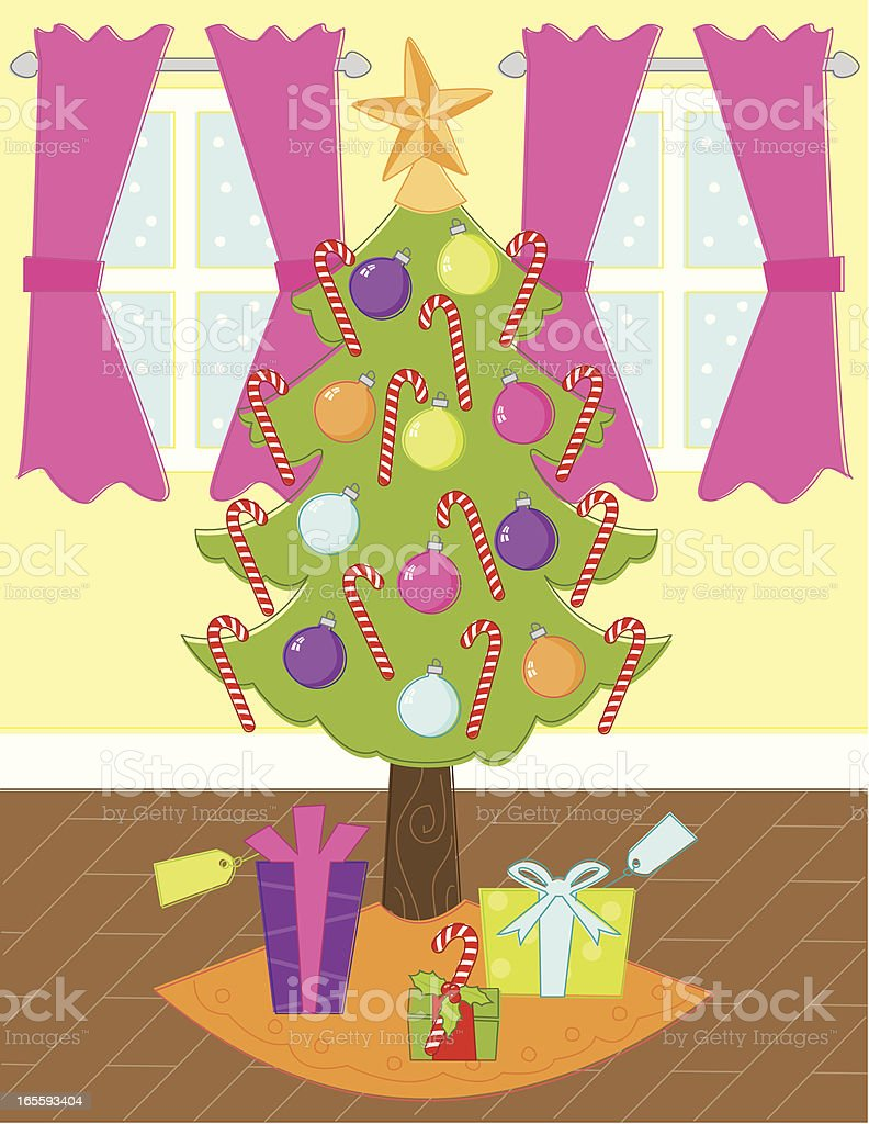 Sketchy Christmas Tree Scene vector art illustration