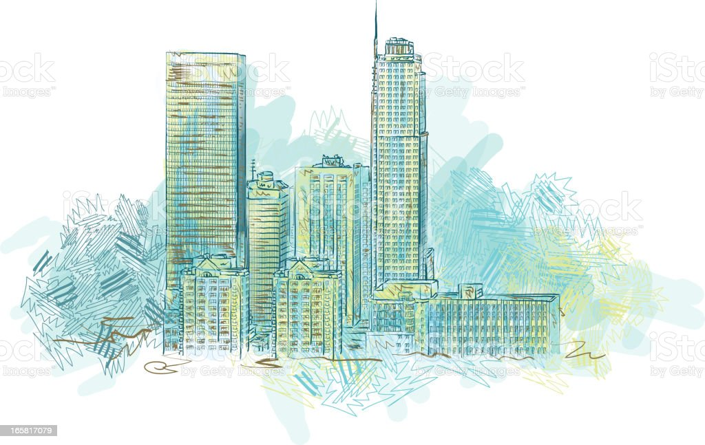 Sketchy cityscape vector art illustration