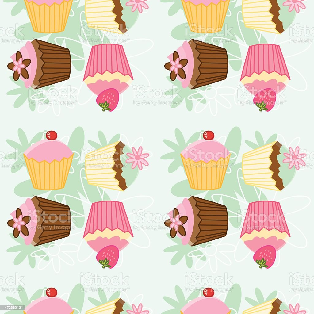 Sketchy Cupcake Seamless Pattern royalty-free stock vector art