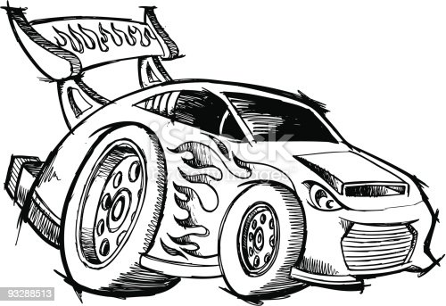 Sketchy Doodle Hotrod Race Car Stock Vector Art 93288513
