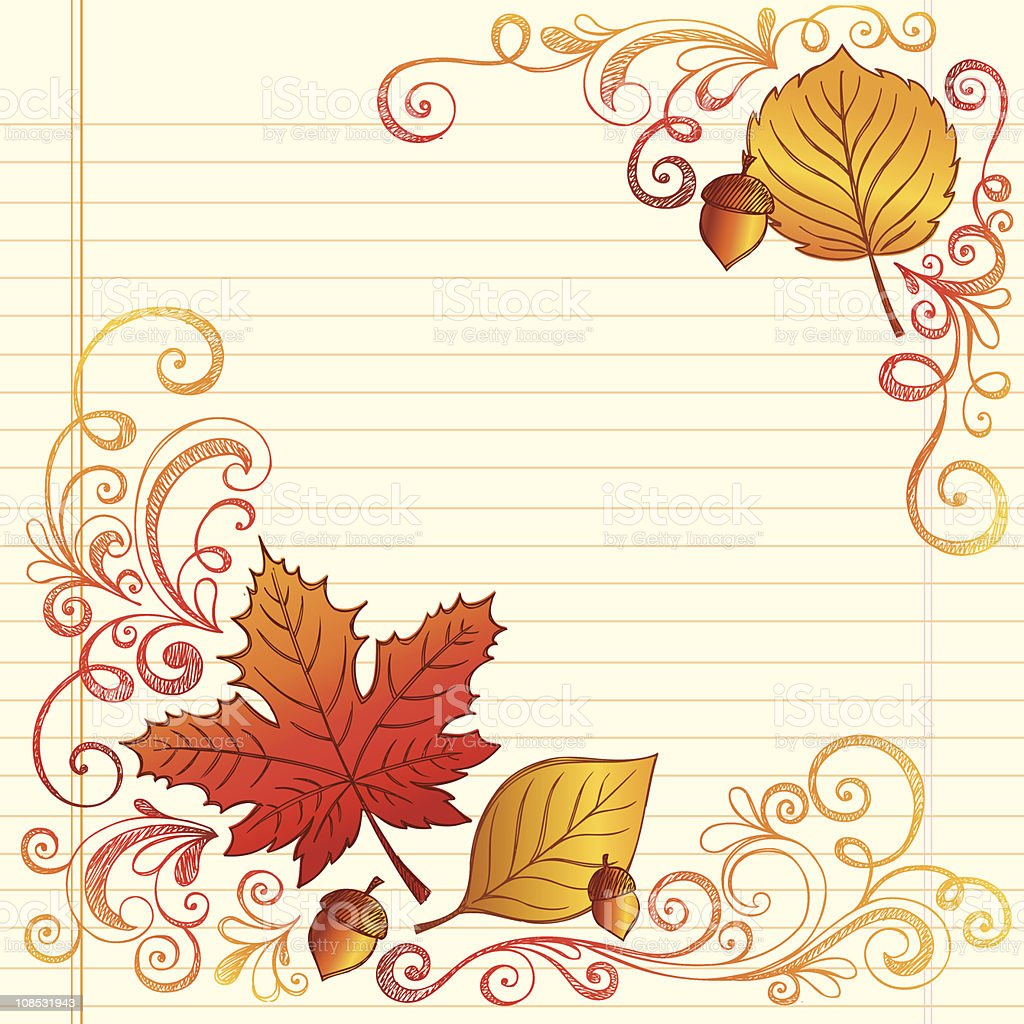 Sketchy Doodles Fall / Autumn Leaves and Acorn royalty-free stock vector art