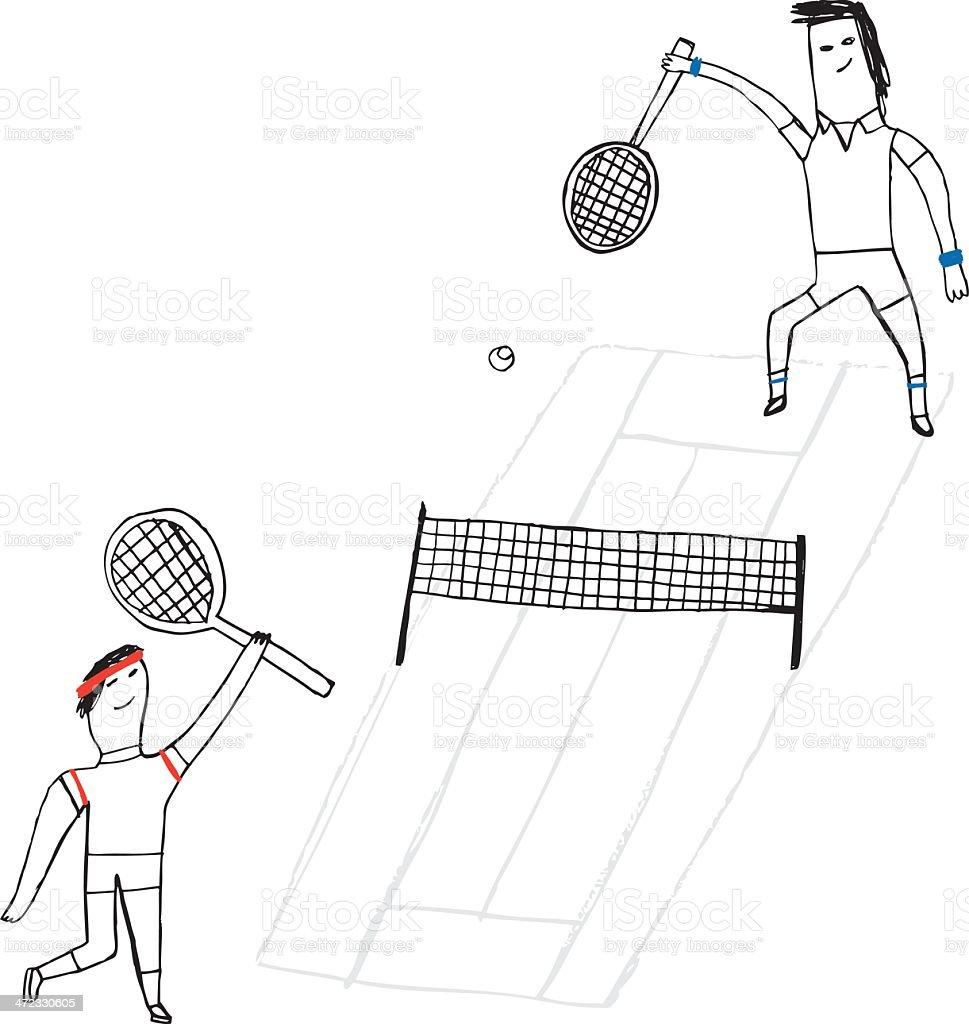 Sketchy drawing of men playing tennis vector art illustration