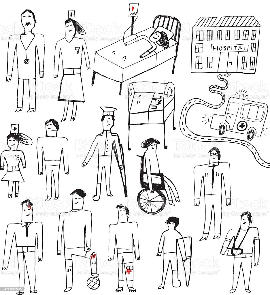 Sketchy drawing set of doctors, nurses and patients and attributes vector art illustration