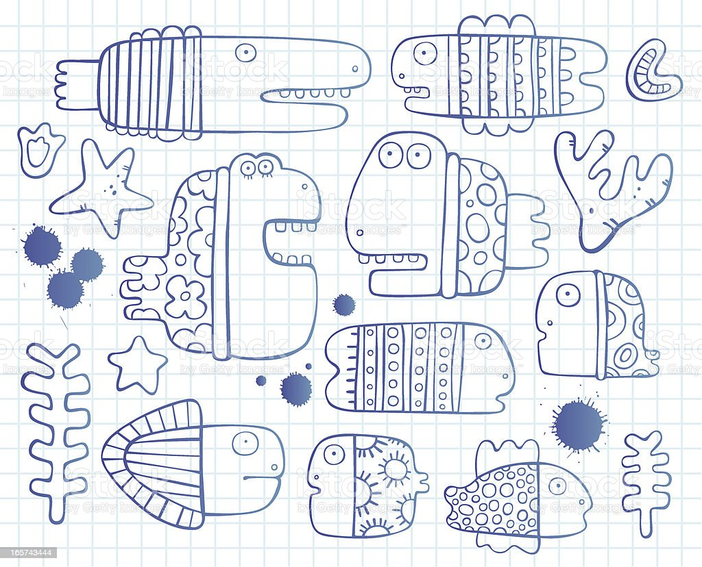 Sketchy fishes royalty-free stock vector art