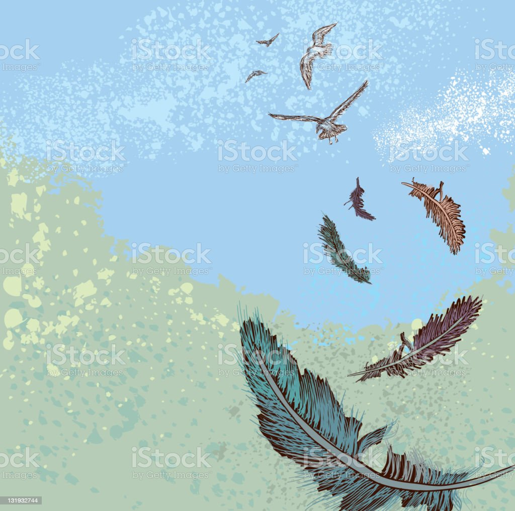 Sketchy flock of birds flying with falling feathers royalty-free stock vector art