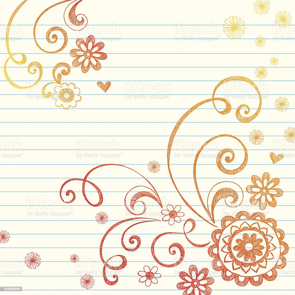 Sketchy Flowers and Swirls Notebook Doodles royalty-free stock vector art