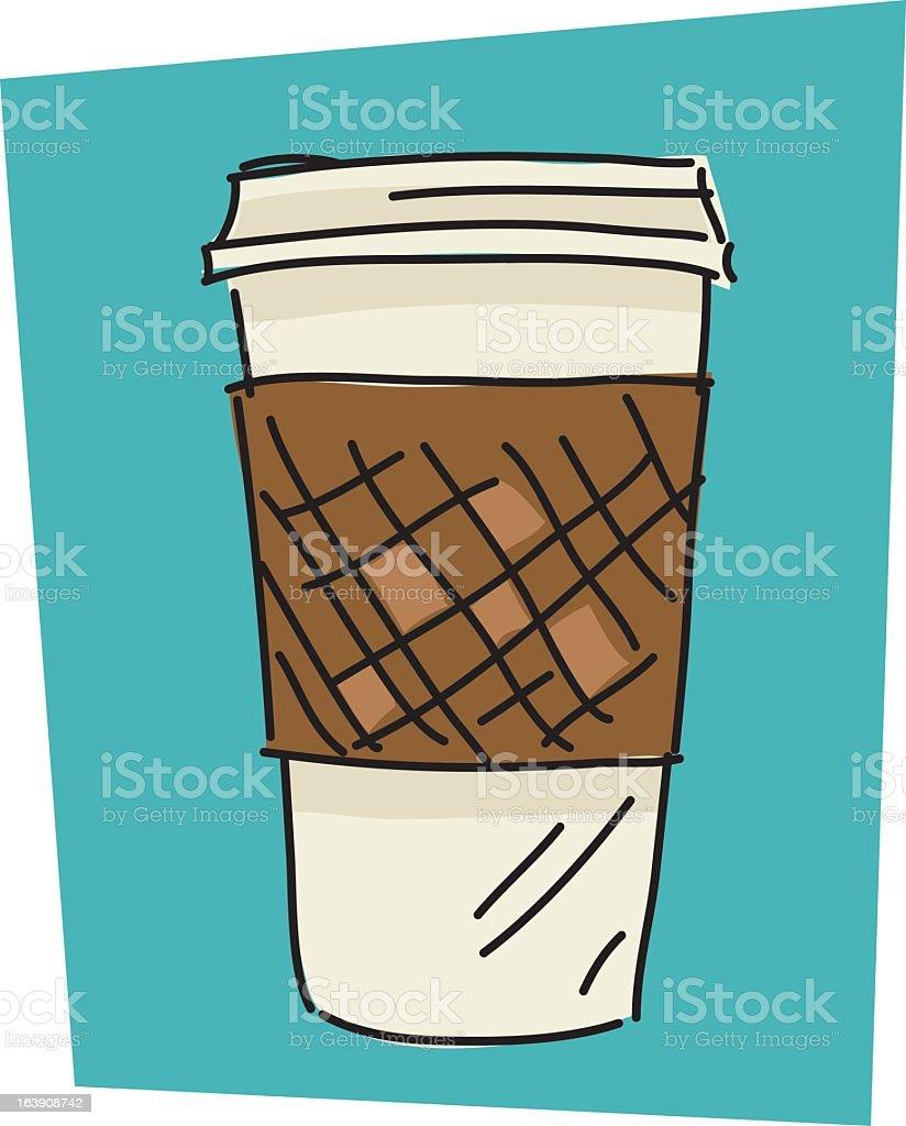 Sketchy Foam Coffee Cup vector art illustration