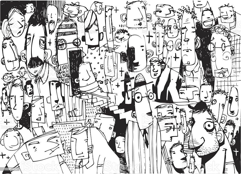 Sketchy folk background vector art illustration