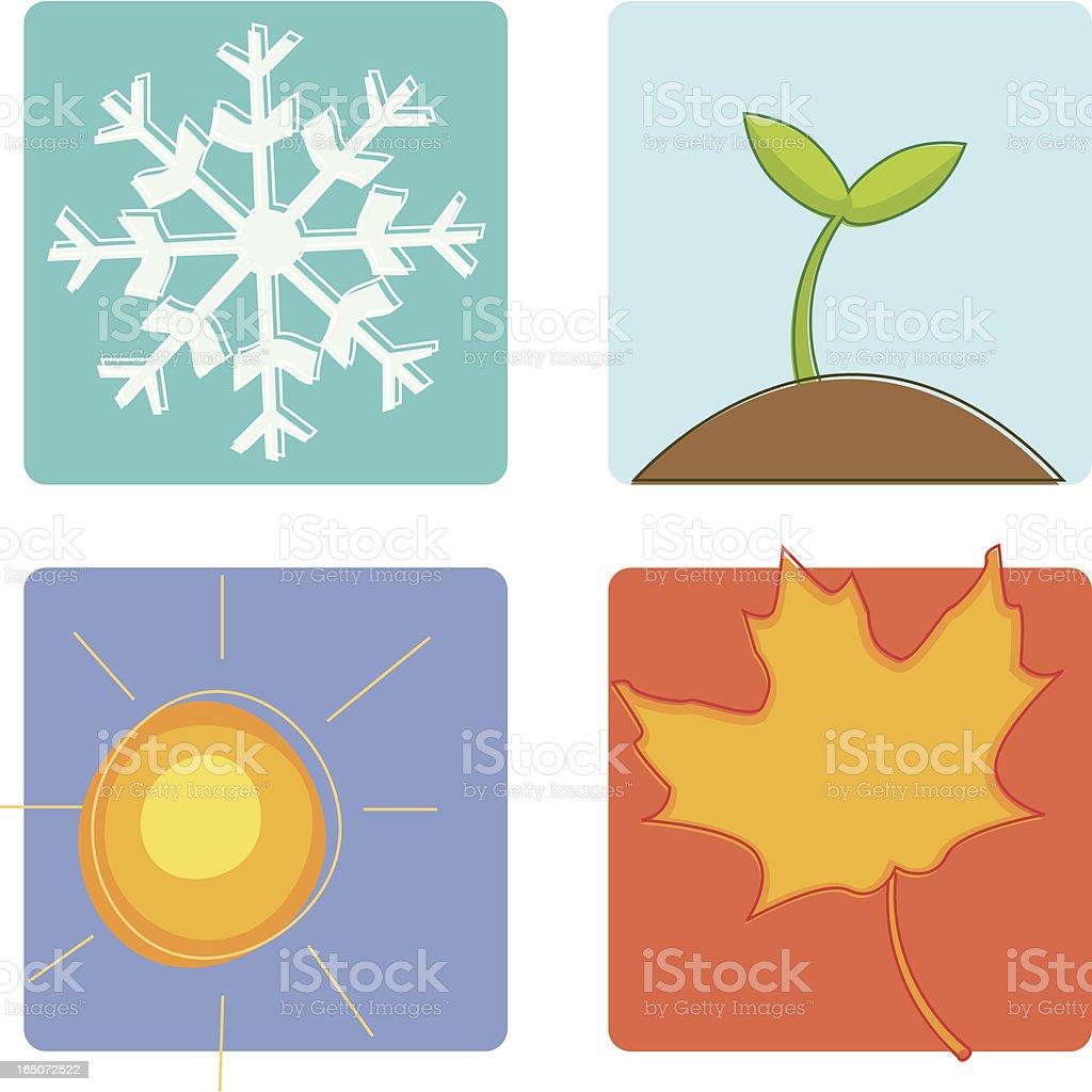 Sketchy Four Seasons royalty-free stock vector art