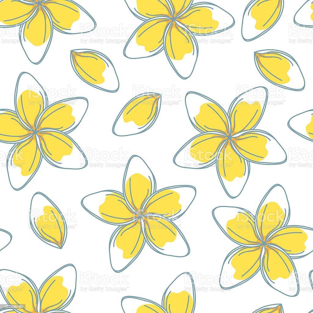 Sketchy Frangipani Flowers Seamless Pattern vector art illustration