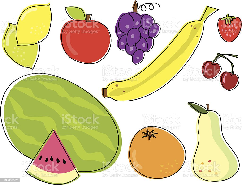Sketchy Fruit royalty-free stock vector art
