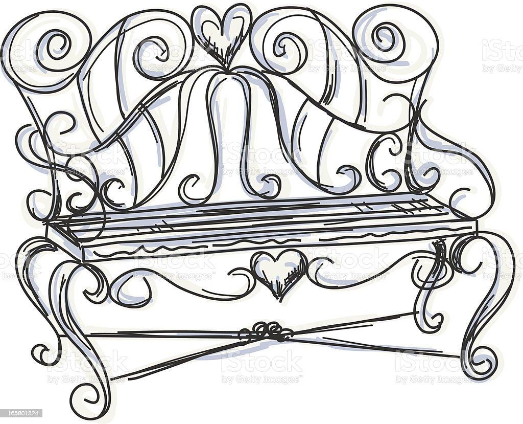 Sketchy Garden Bench Illustration vector art illustration