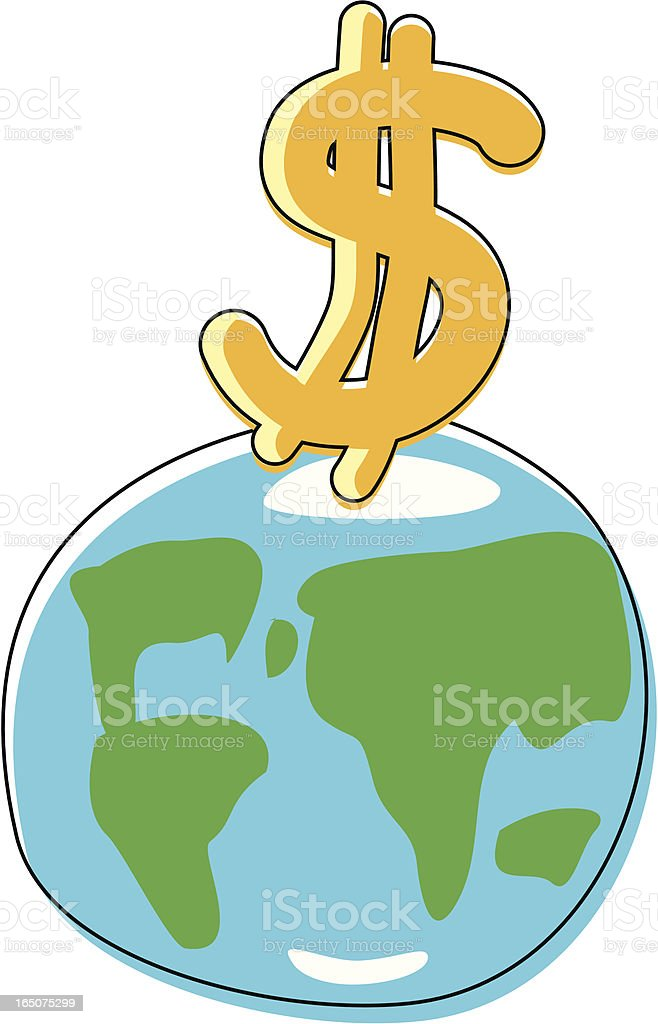 Sketchy Global Dollar vector art illustration