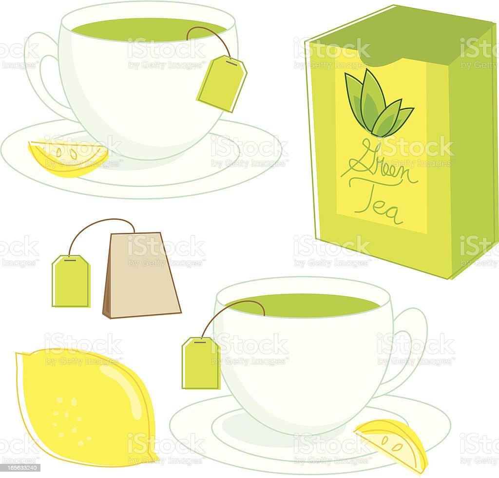 Sketchy Green Tea vector art illustration