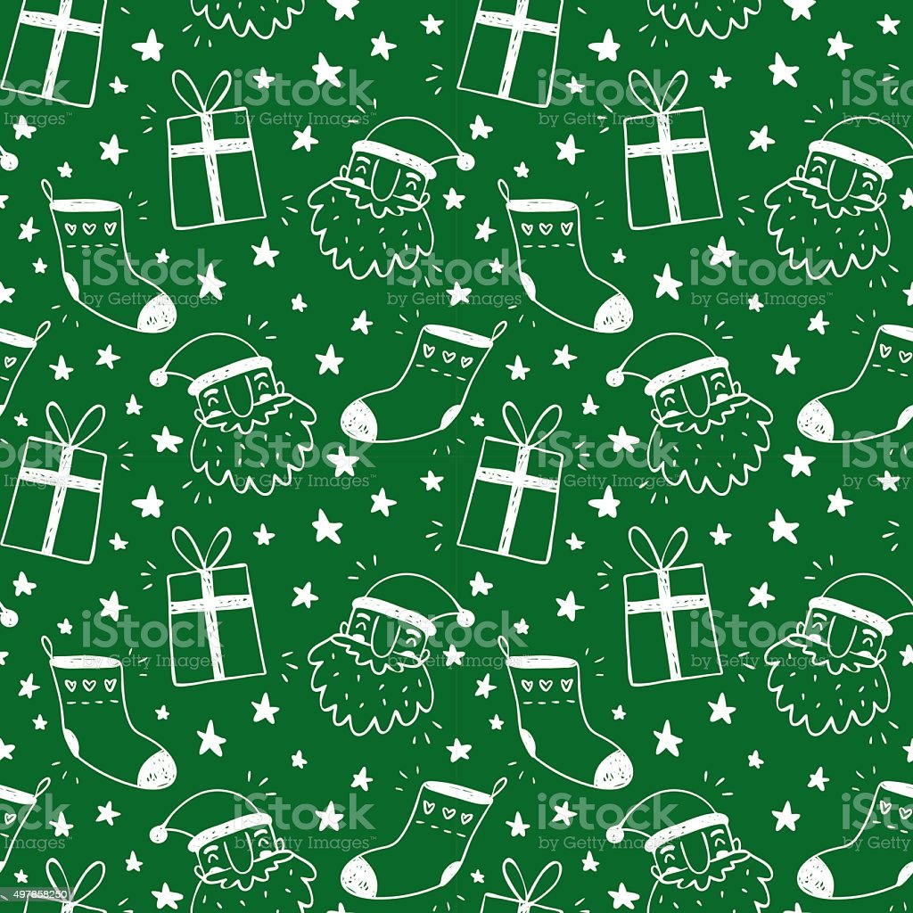 Sketchy green vector seamless pattern with Christmas symbols vector art illustration