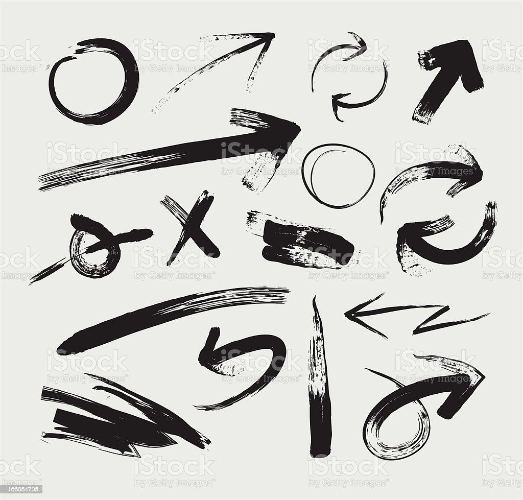 Sketchy Grunge Arrows vector art illustration