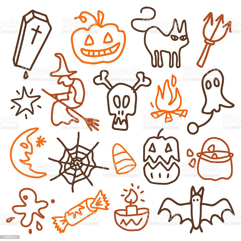 sketchy Halloween icons royalty-free stock vector art