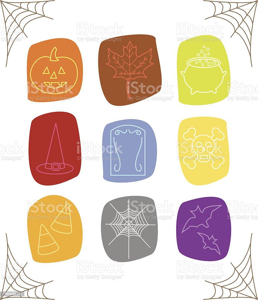 Sketchy Halloween Icons vector art illustration