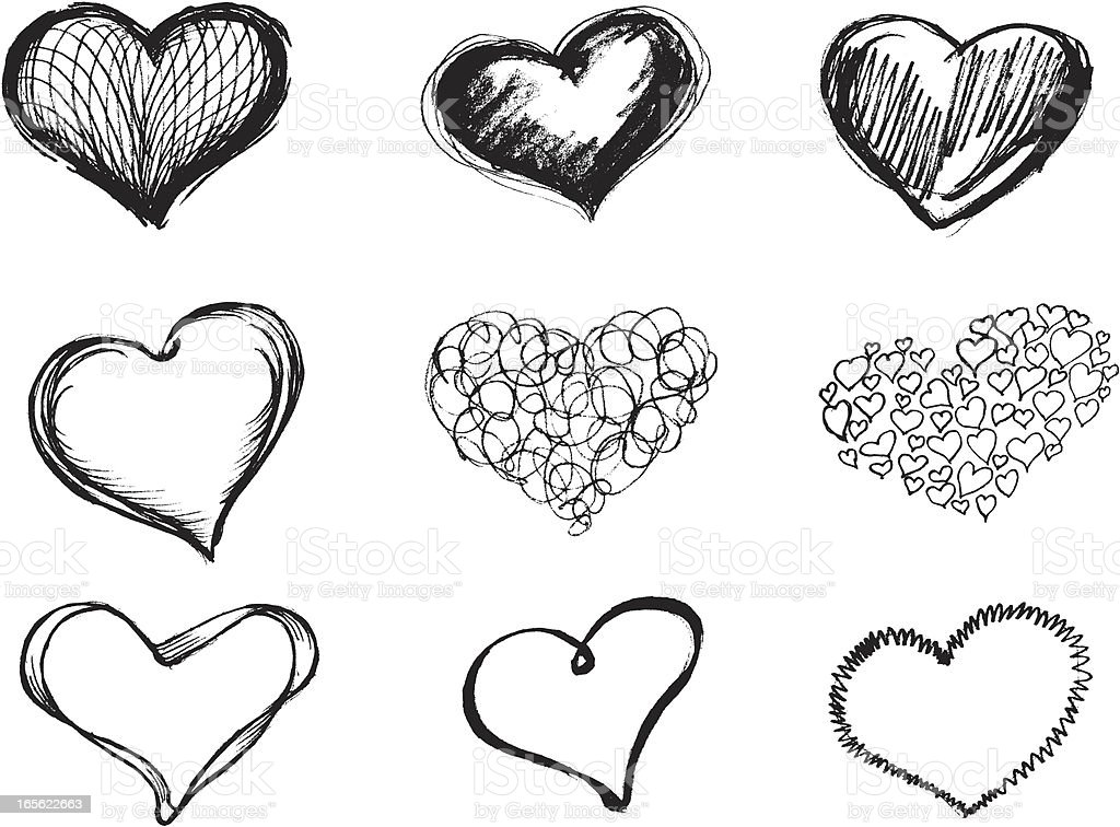 Sketchy Heart Set vector art illustration