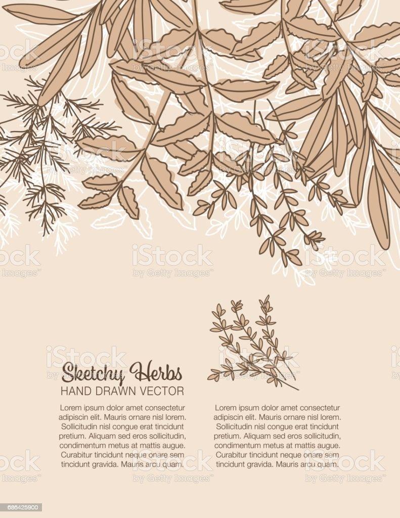 Sketchy Herbs Backgorund vector art illustration