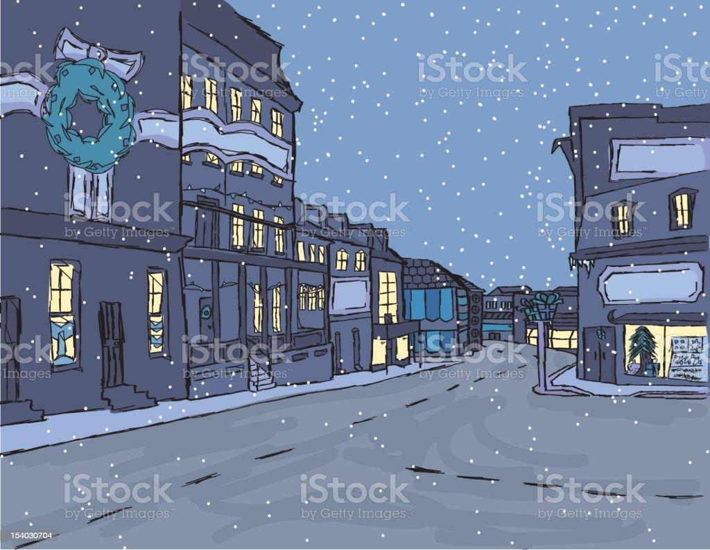 Sketchy Holiday Villiage vector art illustration