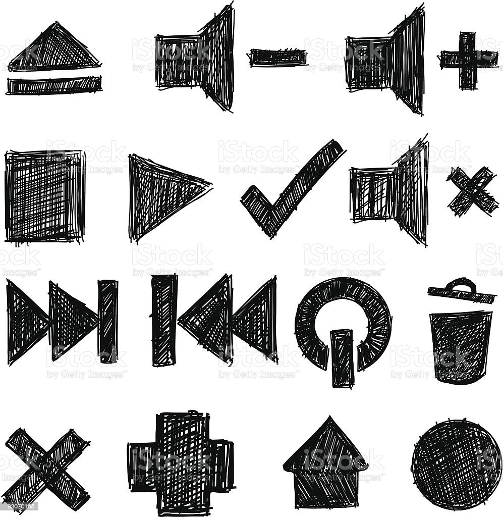 sketchy icon set royalty-free stock vector art