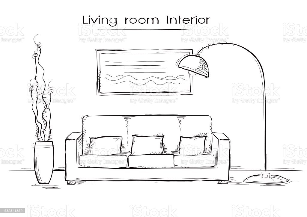 Sketchy illustration of living room interior stock vector for Sofa zeichnen