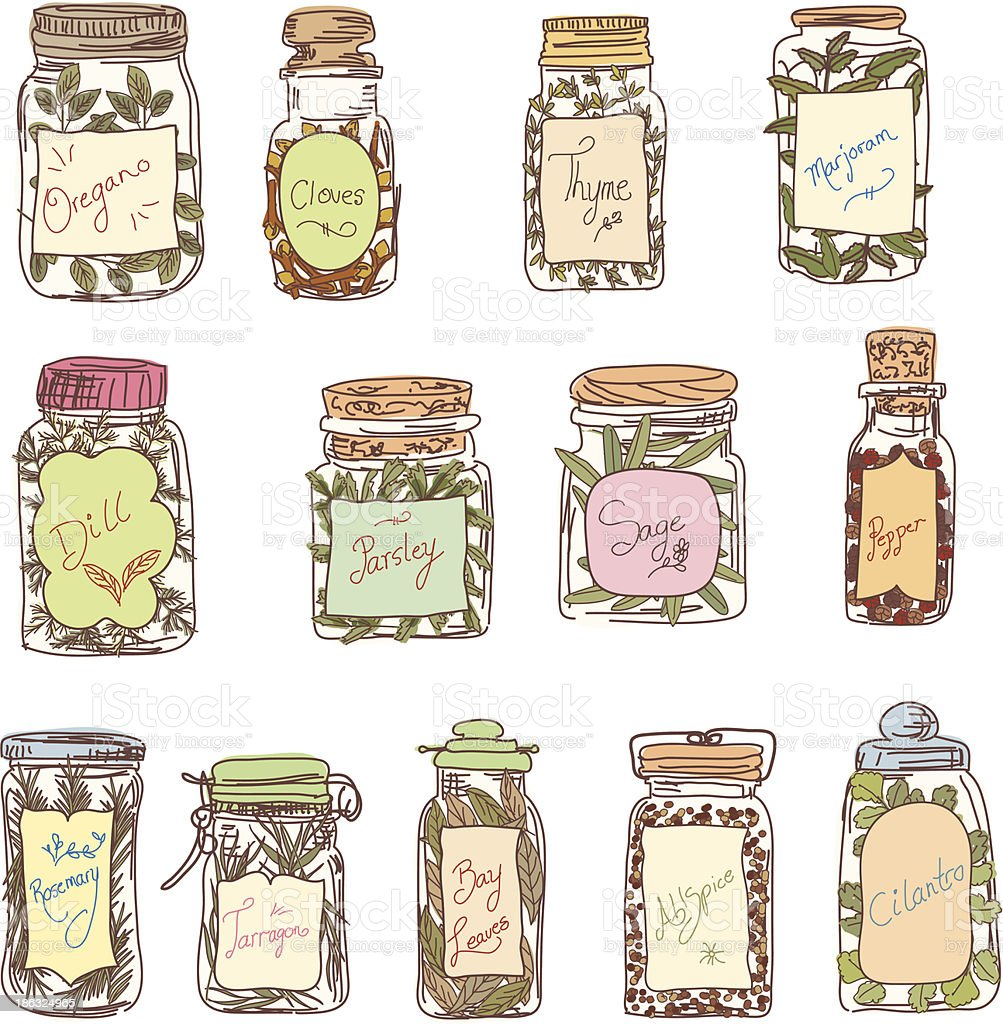 Sketchy Jars Of Herbs & Spices vector art illustration