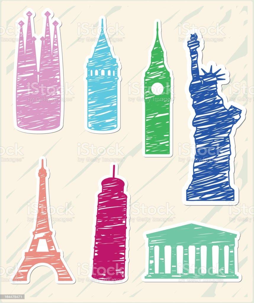 Sketchy Landmarks royalty-free stock vector art
