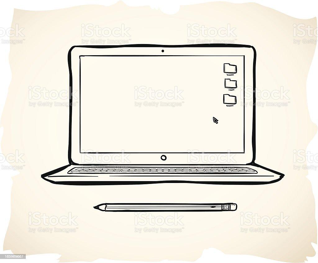 Sketchy laptop illustration vector art illustration