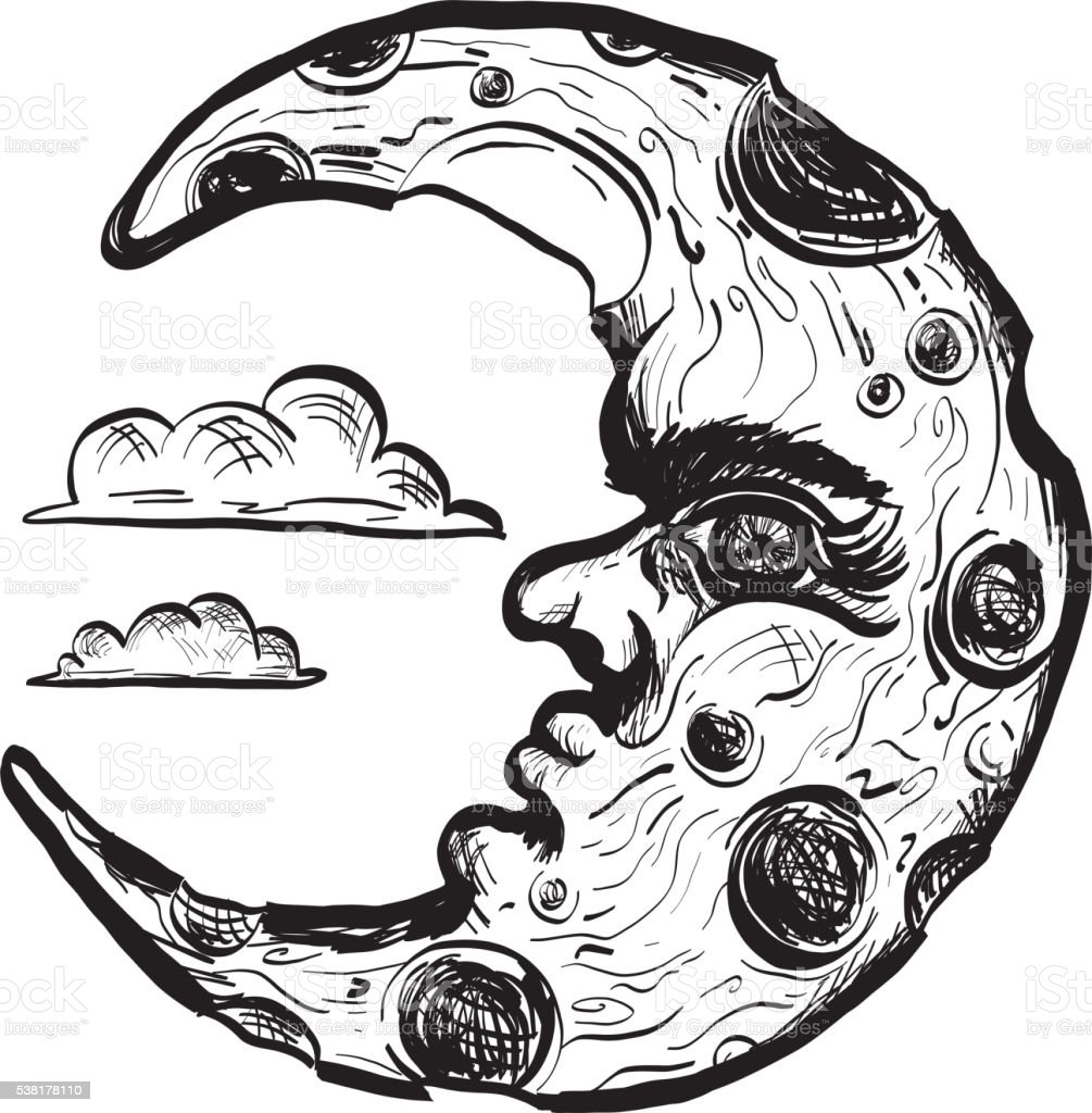 Sketchy man in the moon crescent face vector art illustration