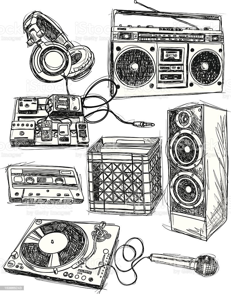 Sketchy Music Elements royalty-free stock vector art