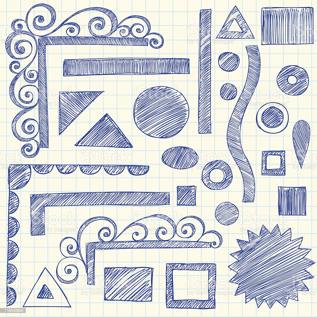 Sketchy Notebook Doodles and Swirly Borders royalty-free stock vector art